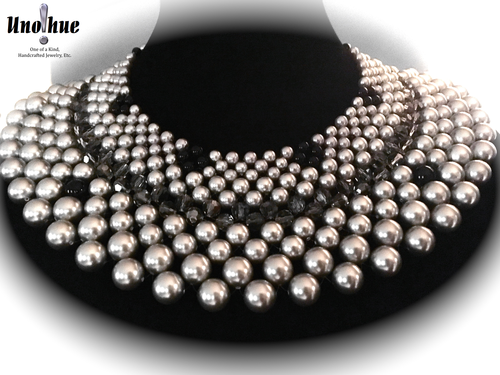 beaded collar black diamonds
